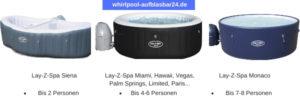 Aufblasbare Whirlpools gibt es in verschiedenen Größen